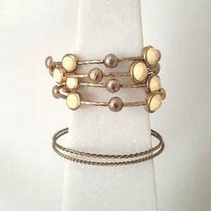 Metal Wrap Bracelet with Cream Beads & Bangles